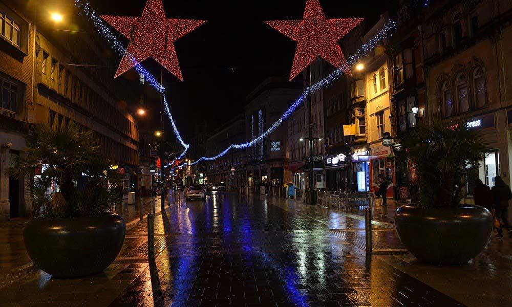 festive city street